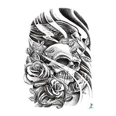 Yeeech Temporary Tattoo Sticker Skull Power Series Eagle Rose Resurrection Wind Design for Men/women. Skull means dead also represents new born. It is symbol of power to make change. Return of king design tattoo decal for arm leg body art, lasts 3-7 Days. with environmental and health material for produce. Easy Apply on Body by Water Transfer. Waterproof.
