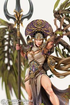 Alarielle, the Everqueen Warhammer Wood Elves, Warhammer Paint, Warhammer Models, Warhammer Fantasy, Fantasy Model, Fantasy Figures, Fantasy Art, Wood Elf, Modelos 3d
