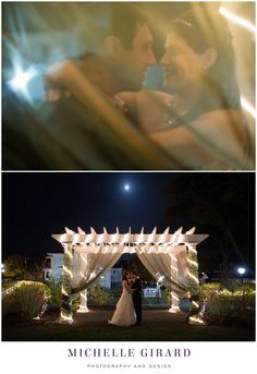 Portrait of the Bride and Groom at night under a full moon :: Outdoor Fall Night Ceremony :: Fall Wedding with Vintage Flare :: New England Charm :: Wedding Ceremony and Reception at the Lord Jeffery Inn in Amherst, Ma