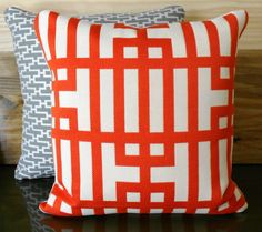 Designer pillow cover, red orange geometric decorative pillow. $54.00, via Etsy.