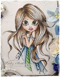 Cards By Becky Inktense Colours: Skin: Carmine Pink Baked Earth Saddle Brown Sepia Ink  Cheeks and Lips: Carmine Pink Chilli Red  Hair: Willow Oak Sepia Ink