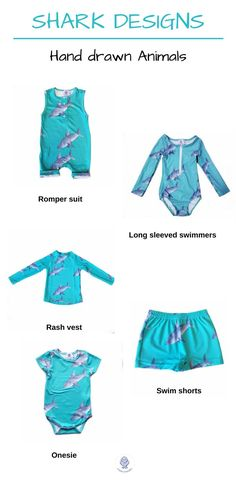 FREE SHIPPING OVER $60! Hand designed kids and toddler clothes. Our range of hand-drawn sharks are now available as a romper suit, long-sleeved swimmers, swim shorts, rash vest and onesie. Your little one will be super stylish when hitting the water this Summer. #kidswimwear #kidswear