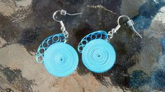 Paper Quilled Earrings Round Swirl - Shades of Blue - quilling paper jewelry, paper earrings, blue earrings, eco friendly, gift for her