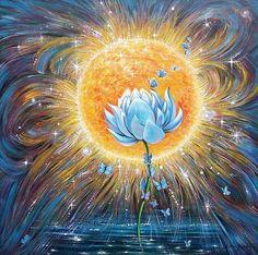 HandPainted Oil Lotus Painting Bliss van AmritaArtCom op Etsy