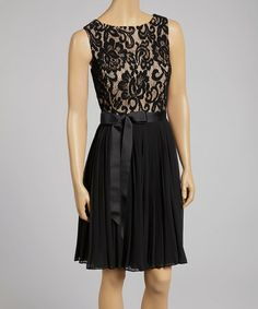 Look what I found on #zulily! Black & Nude Floral Lace Sleeveless Dress - Women #zulilyfinds