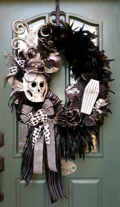 Halloween Wreath, Feather Wreath, Skull Wreath, Spooky Wreath, Black & White Wreath, Harlequin Wreath