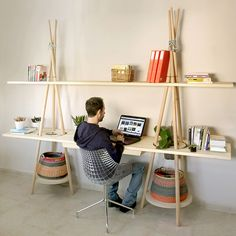 A simple and functional shelving system that can be assembled in minutes. #shelves #furniture #YankoDesign