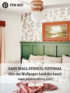 Want to add charm to your walls without the crazy expensive cost of wallpaper? This easy wall stencil tutorial will help! Classic Home Decor, French Home Decor, Unique Home Decor, Cheap Home Decor, Living Room Decor, Bedroom Decor, Wall Decor, Easy Wall, Interior Walls