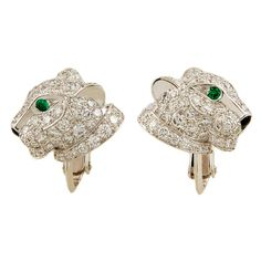 1stdibs | CARTIER Diamond, Emerald & Onyx Leopard Earrings