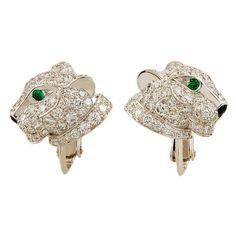 1stdibs   CARTIER Diamond, Emerald & Onyx Leopard Earrings