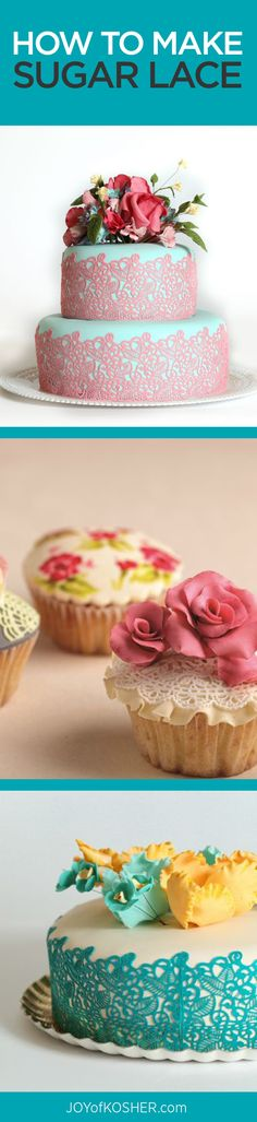 Learn to decorate a cake with sugar lace - tips and tricks here for gorgeous desserts Cakes To Make, How To Make Cake, Cake Decorating Techniques, Cake Decorating Tutorials, Cookie Decorating, Decorating Ideas, Cake Cookies, Cupcake Cakes, Cupcakes