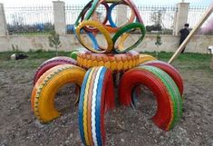 No image found Diy Playground, Tire Craft, Cool Playgrounds, Tire Garden, Tire Furniture, Reuse Old Tires, Used Tires, Recycled Garden, Kids Play Area