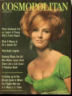 Cosmopolitan magazine, NOVEMBER 1965 Retro Updo, 1960s Hair, Cosmo Girl, Girl With Green Eyes, Vogue Magazine Covers, Cosmopolitan Magazine, Hair Reference, Retro Hairstyles, Vintage Magazines