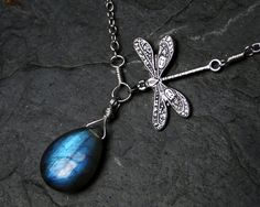 Labradorite Necklace, Dragonfly Necklace - Dragon's Dive by CircesHouse on Etsy