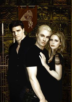 This is how it should be. Buffy with Spike and Angel on his own looking all broody. And I like that the banner in the back has his tattoo on it.