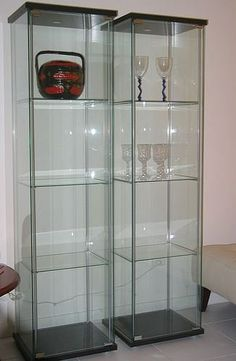Ikea Detolf Glass Curio Display Cabinet Black Amazon