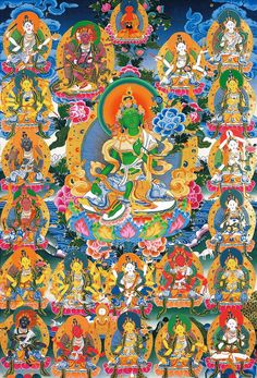 This is of the 21 forms of Tara. The one in the middle is green Tara. Tara was the frist person to reach enlightenment and chose a female from. When Tara was Yeshe Dawa the monks told her she should pray to be reborn as a man. Yeshe Dawa was shocked As the Buddhas teachings said anyone man or woman could reach enlightenment. But she did reach enlightenment.