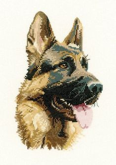 Cross Stitch Kits Cash - German Shepherd (Alsation) Portrait Cross Stitch Kit from Heritage Crafts Beautiful! but in 27 count I think. Cross Stitching, Cross Stitch Embroidery, Cross Stitch Designs, Cross Stitch Patterns, Heritage Crafts, Cross Stitch Animals, Dog Pattern, Counted Cross Stitch Kits, Canvas Patterns