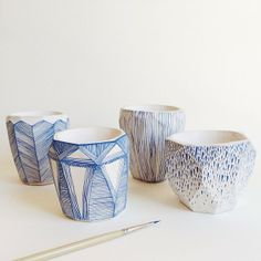 Porcelain faceted cups by Abby Seymour