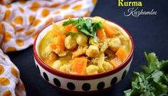 Lip-smacking delicious and gorgeous side dish Vellai Kurma recipe with detailed recipe with step-wise pictures. Hotel style Vellai Kurma or White Kurma. Indian Food Items, Indian Fast Food, South Indian Food, Indian Food Recipes, Ethnic Recipes, Indian Wedding Food, Kurma Recipe, Fast Food Items, Chickpea Stew