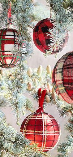 Plaid Fabric Ball Ornaments