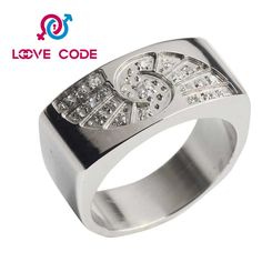 Cheap plain stainless steel ring jewelry with crystals