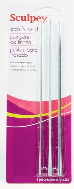 """This Set of 3 metal skewers can be used for a variety of unique applications. The pointed ends are perfect for adding fine details or piercing beads. Because they are metal and have a consistent diameter through the center, beads can be baked right on the tool. The opposite end has a unique concave design that creates a raised pearl pattern. Product Dimensions: 1/8"""", 3/16"""", 1/4"""" *Click pictures to enlarge. Watch an instructional video from Polyform"""