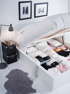 From IKEA~ When we had an RV, the bed was made like this...great idea, but pretty heavy (when you had a queen sized mattress on top...but otherwise...great idea!