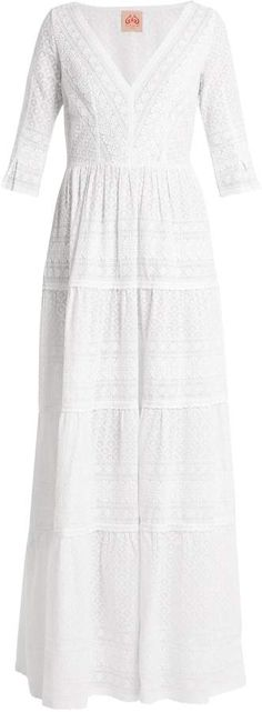 LE SIRENUSE, POSITANO Anita V-neck embroidered cotton dress