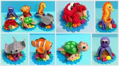 Fondant Sea Animals Cupcake Toppers -Turtle, Sting Ray, Fish, Sea Horse, Octopus, Crab