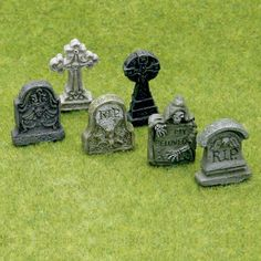 6-Pc. Assorted Tombstone Set Cool for landscaping - graveyard area. (Graveyard at the beach??)