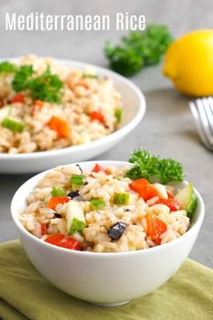 This Mediterranean rice is a delicious lemon rice side dish that goes well with so many things. Make this recipe using jasmine rice in the Instant Pot or on the stove. Gluten Free Recipes Side Dishes, Whole Food Recipes, Cooking Recipes, Healthy Recipes, Dishes Recipes, Greek Recipes, Light Recipes, Healthy Meals, Cooking Tips
