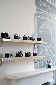 Rangfinder shelves #rangfinder #zorki #russian#art #illustration #vm #shopfit #vintage #cameras West Yorkshire Cameras - Vintage Camera Shop
