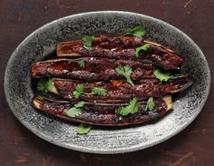 Barbecued Eggplant with Miso Glaze: a Thai-inspired dish with a deceptively slow-roasted flavor.