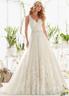 *Oc stunning Graceful Tulle V-neck Neckline A-line Wedding Dresses with Beaded Lace Appliques