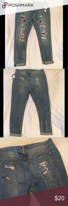 Ripped boyfriend jeans Ripped boyfriend jeans. Plaid underlay. Brand new. Mossimo Supply Co. Jeans Boyfriend