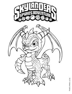 Spyro coloring page. More Skylanders coloring sheets on hellokids.com