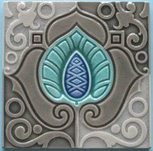 Antique Belgian Moorish Inspired Art Nouveau Tile in Three Shades of Gray, Brilliant Turquoise and Blue From the Belgian Firm, Hemixsem.