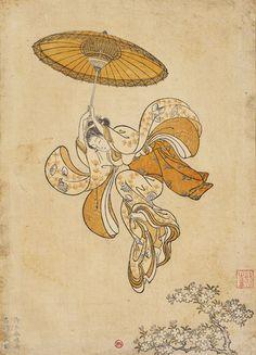 """Suzuki Harunobu (vers 1725-1770) """"Beauté sautant dans le vide depuis le balcon du temple Kiyomizu"""" Image de calendrier, 1765."""