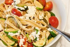 Zucchini, Cherry Tomato, and fresh Ricotta Pasta. One of my fav food photos I've taken.