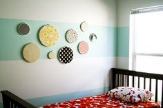 teal stripes and wall display