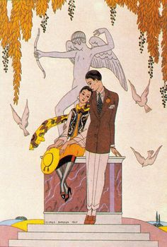 L'Automne The Autumn 1926 Fashion illustration by GEORGE BARBIER for Falbalas et Fanfreluches 1926 edition, an unashamedly sentimental picture of love. The Golden Age of Style Julian Robinson (1976) (please follow minkshmink on pinterest) #flapper #twenties #dandy