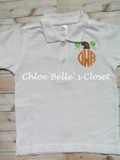 Boys Monogrammed Polo Style Shirt with  Pumpkin by juliesonny, $20.00