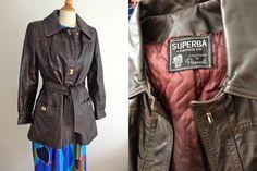 70's Dark Brown Mod Leather Jacket Superba by ElkHugsVintage, $28.00