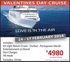 Be the perfect valentine, and spoil your partner with a luxurious boat cruise! Call us on 031 2010 630 for more info.
