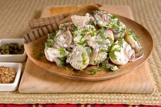 Herb potato salad recipe, Viva – A fantastic potato salad with crampegraveme fraiche and a hint of zesty crunch courtesy of red onion and gherkins - Eat Well (formerly Bite) Potato Salad With Egg, Salad Recipes Video, Onion Relish, Boiled Eggs, Food Videos, Vegetarian Recipes, Easy Meals, Potatoes, Herbs