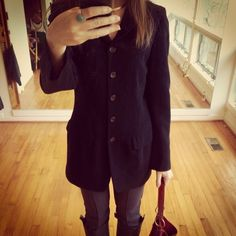 Barneys NY black wool blazer/jacket This blazer fits slim and is structured like a riding jacket. It has 6 buttons and is long and lean. Made of 100% wool (it's a light wool) in size 6. Two pockets (they haven't been cut open). Fits sizes 2-6. Jackets & Coats Blazers