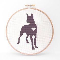 Great Dane Silhouette Cross Stitch Pattern by kattuna on Etsy