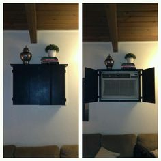 a cute way to cover up and eye sore of an air conditioner. Just need to add some knobs :)