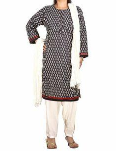 Black Kameez Off-White Salwar Dupatta Indian Fashion for Women Size XL